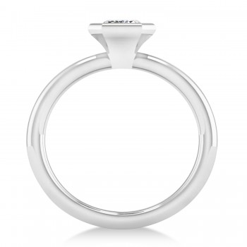 Emerald-Cut Bezel-Set Diamond Solitaire Ring 14k White Gold (1.00 ctw)