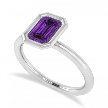 Emerald-Cut Bezel-Set Amethyst Solitaire Ring 14k White Gold (1.00 ctw)
