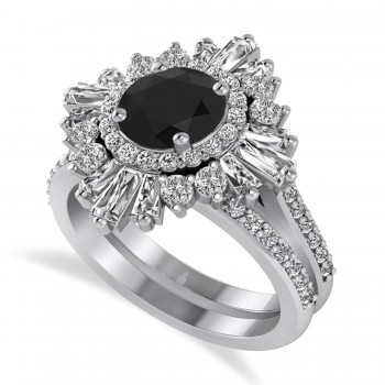 Black Diamond & Diamond Ballerina Engagement Ring 14k White Gold (2.74 ctw)