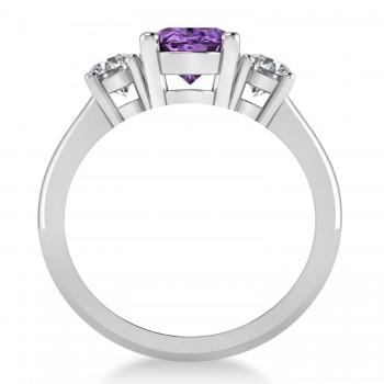 Oval & Round 3-Stone Amethyst & Diamond Engagement Ring 14k White Gold (3.00ct)