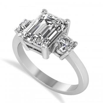Emerald & Round 3-Stone Diamond Engagement Ring 14k White Gold (3.00ct)