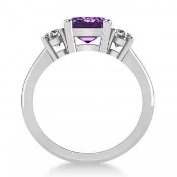 Emerald & Round 3-Stone Amethyst & Diamond Engagement Ring 14k White Gold (3.00ct)