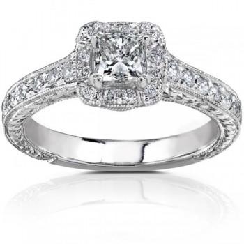 Vintage Style Princess Cut Diamond Engagement Ring 14K W Gold 0.75ct
