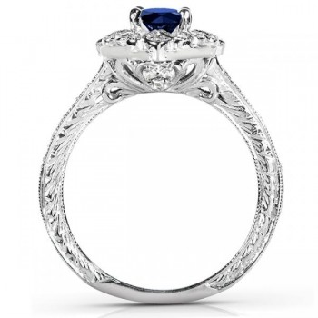 Antique Style Sapphire and Diamond Cocktail Ring 14k White Gold 0.75ct