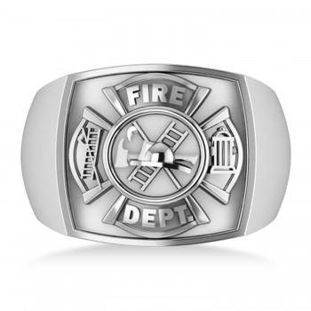 Fire Department Badge Ring 14k White Gold