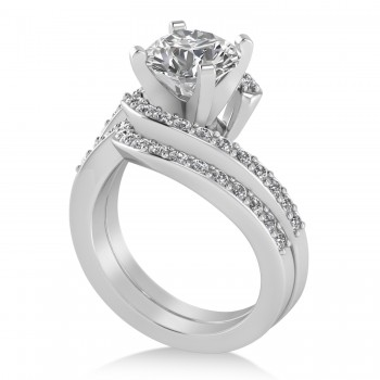 Diamond Accented Tension Set Bridal Set 14k White Gold (0.35ct)