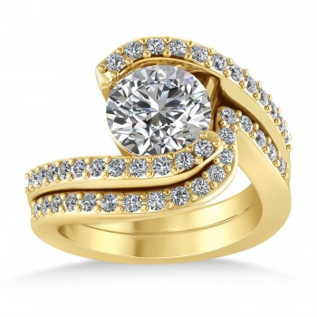 Diamond Accented Tension Set Bridal Set 14k Yellow Gold (2.51ct)