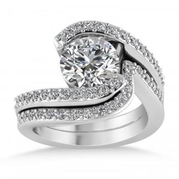 Diamond Accented Tension Set Bridal Set 18k White Gold (2.51ct)