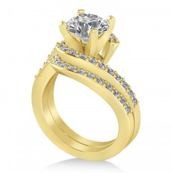 Diamond Accented Tension Set Bridal Set 18k Yellow Gold (2.51ct)