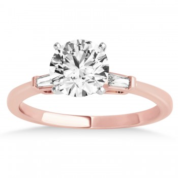 Tapered Baguette Three Stone Diamond Engagement Ring 14k Rose Gold (0.10ct)