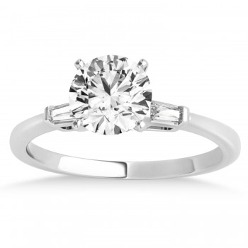 Tapered Baguette Three Stone Diamond Engagement Ring 18k White Gold (0.10ct)