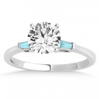 Tapered Baguette 3-Stone Aquamarine Engagement Ring 18k White Gold (0.10ct)