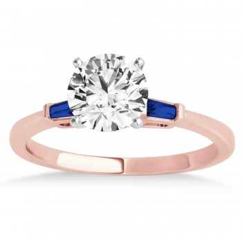 Tapered Baguette 3-Stone Blue Sapphire Engagement Ring 14k Rose Gold (0.10ct)