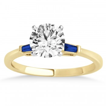 Tapered Baguette 3-Stone Blue Sapphire Engagement Ring 14k Yellow Gold (0.10ct)