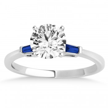 Tapered Baguette 3-Stone Blue Sapphire Engagement Ring 18k White Gold (0.10ct)