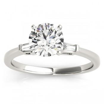Tapered Baguette Three Stone Diamond Engagement Ring Platinum (0.10ct)