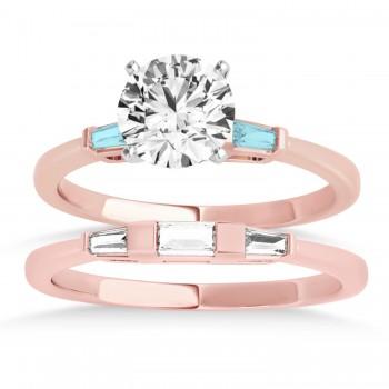 Tapered Baguette 3-Stone Aquamarine Bridal Set 18k Rose Gold (0.30ct)