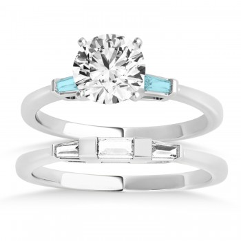 Tapered Baguette 3-Stone Aquamarine Bridal Set 18k White Gold (0.30ct)