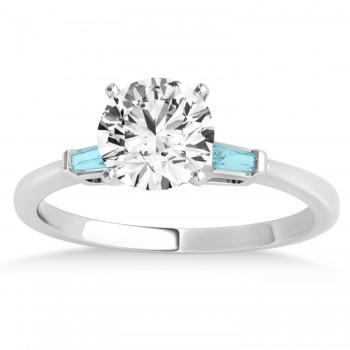 Tapered Baguette 3-Stone Aquamarine Bridal Set Palladium (0.30ct)