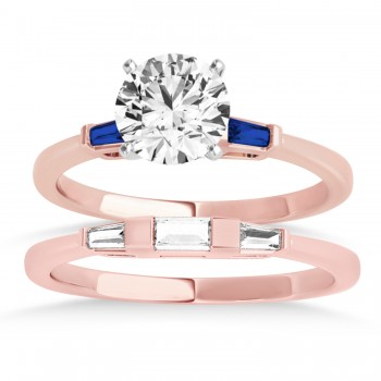 Tapered Baguette 3-Stone Blue Sapphire Bridal Set 14k Rose Gold (0.30ct)