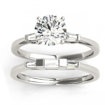 Tapered Baguette Three Stone Diamond Bridal Set Platinum (0.30ct)