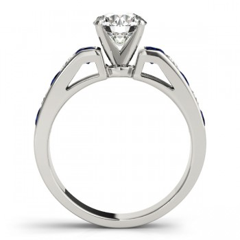 Diamond & Blue Sapphire Accents Engagement Ring 14k White Gold 1.00ct