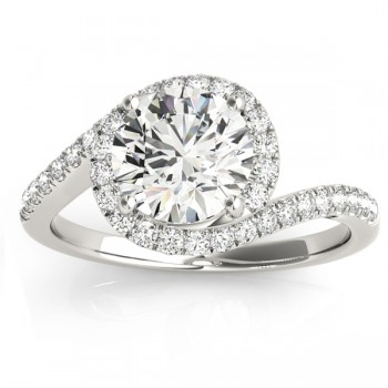 Diamond Halo Accented Engagement Ring Setting 14k White Gold 0.26ct