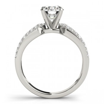 Diamond Sidestone Accented Multirow Engagement Ring 14k White Gold (0.22 ct)