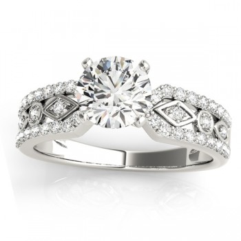 Diamond Sidestone Accented Multirow Bridal Set 14k White Gold (0.38 ct)