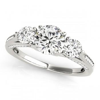 Three Stone Round Engagement Ring 14k White Gold (1.69ct)
