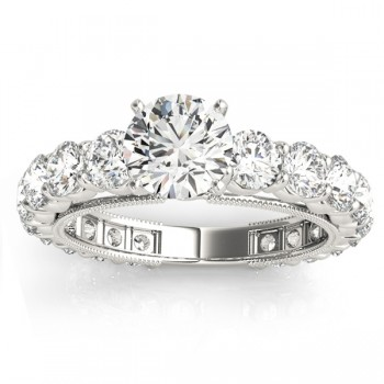 Luxury Diamond Eternity Engagement Ring Setting 14k White Gold 1.96ct