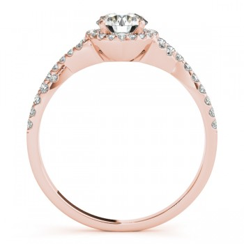 Twisted Infinity Halo Engagement Ring Setting 18k Rose Gold (0.20ct)
