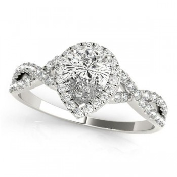 Twisted Pear Diamond Engagement Ring Palladium (1.50ct)