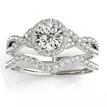 Twisted Infinity Engagement Ring Bridal Set 14k White Gold 0.27ct