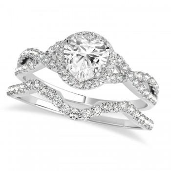 Twisted Heart Diamond Engagement Ring Bridal Set Palladium (1.57ct)