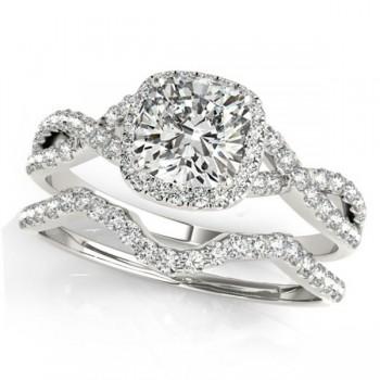 Twisted Cushion Diamond Engagement Ring Bridal Set Platinum (1.57ct)
