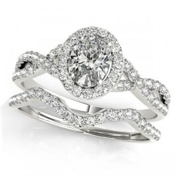 Twisted Oval Diamond Engagement Ring Bridal Set Platinum (1.57ct)