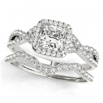 Twisted Princess Diamond Engagement Ring Bridal Set Platinum (1.57ct)