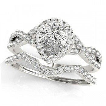 Twisted Pear Diamond Engagement Ring Bridal Set Platinum (1.57ct)