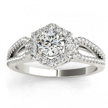 Diamond Shaped Halo Diamond Engagement Ring 14k White Gold 0.37ct