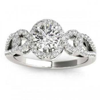 Twisted Shank Halo Diamond Engagement Ring Setting 14k W. Gold 0.35ct