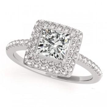 Cushion Cut Diamond Halo Bridal Set 14k White Gold (2.20ct)