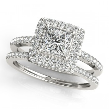 Princess Cut Diamond Halo Bridal Set 14k White Gold (2.20ct)