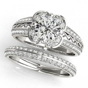 Artistic Micro-pave' Flower Diamond Bridal Set 14k White Gold (2.25ct)