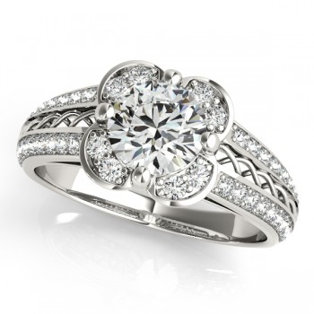 Artistic Micro-pave' Flower Diamond Bridal Set 14k White Gold (2.25ct)