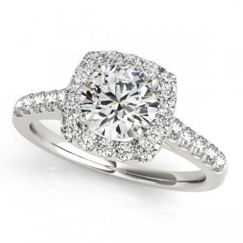 Square Halo Round Diamond Bridal Set 14k White Gold (1.61ct)
