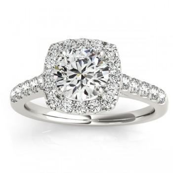 Halo Square Diamond Bridal Set 14k White Gold (0.61ct)