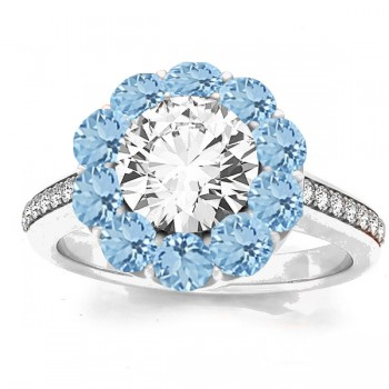 Floral Design Round Halo Aquamarine Bridal Set 14k White Gold (2.73ct)