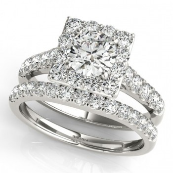 Diamond Halo Square Shape Border Bridal Set 14k White Gold (3.28ct)
