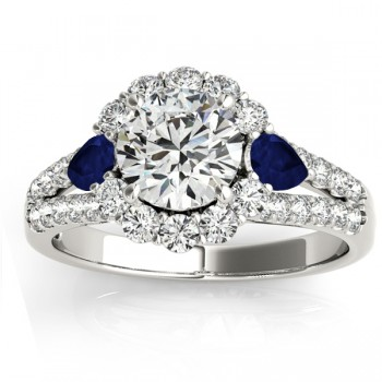 Diamond Halo w/ Blue Sapphire Pear Ring 14k White Gold 0.91ct